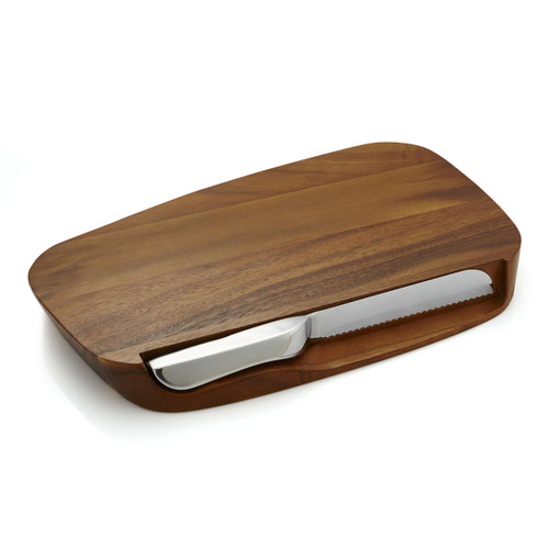 Nambe Blend Bread Board with Knife by Neil Cohen