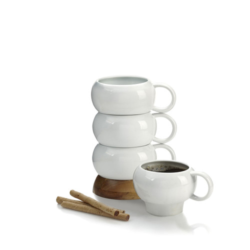 Nambe Bulbo Ceramic Mug Stack Set of 4 by Lou Henry