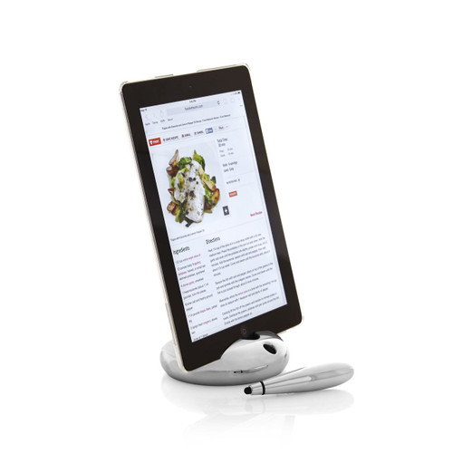 Nambe Pebble Tablet Stand with Stylus by Lou Henry
