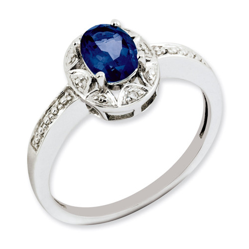 September Created Sapphire Ring Sterling Silver Diamond QBR10SEP