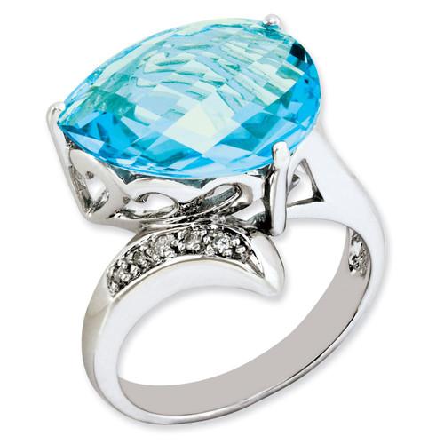 Blue Topaz & Diamond Ring Sterling Silver QR2919BT