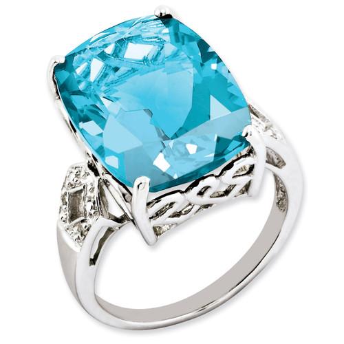 Blue Topaz & Diamond Ring Sterling Silver QR2926BT