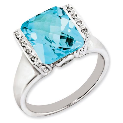 Blue Topaz & Diamond Ring Sterling Silver QR2938BT