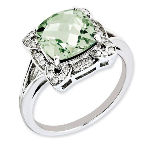 Green Quartz Ring Sterling Silver Diamond QR3038AG