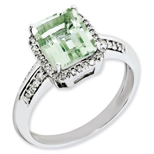 Green Quartz Ring Sterling Silver Diamond QR3052AG
