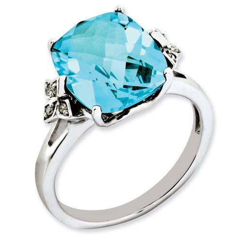 Blue Topaz & Diamond Ring Sterling Silver QR3191BT