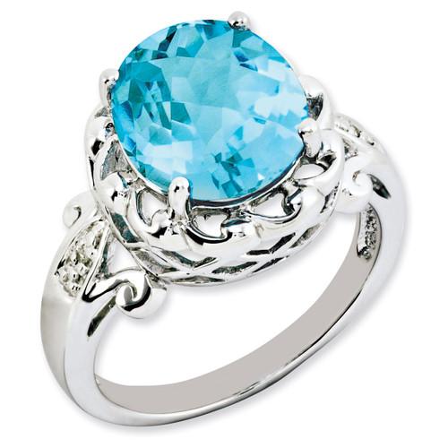 Blue Topaz & Diamond Ring Sterling Silver QR3192BT