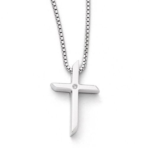 .01ct. Diamond Cross Necklace Sterling Silver QW260