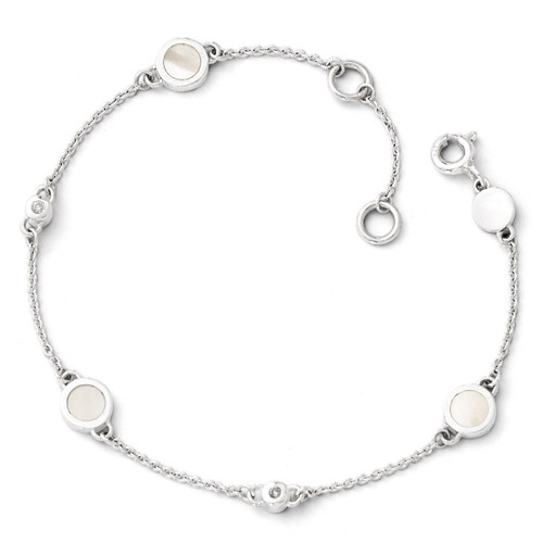 .02ct Diamond and Mother of Pearl Bracelet Sterling Silver QW358