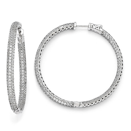 Pave 2 inch Diameter Cubic Zirconia In and Out Hoop Earrings Sterling Silver QMP325