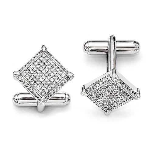 Cufflinks Sterling Silver & Cubic Zirconia QMP426