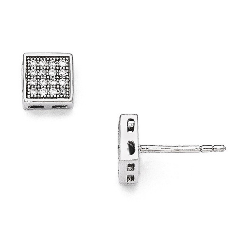 Square Post Earrings Sterling Silver & Cubic Zirconia QMP844