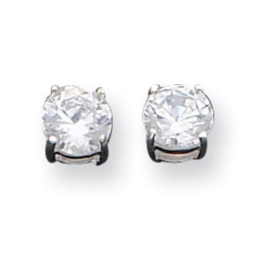 6mm Round Basket Set Cubic Zirconia Stud Earrings Sterling Silver QE3146