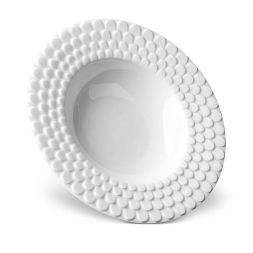 L'Objet Aegean Rimmed Serving Bowl White