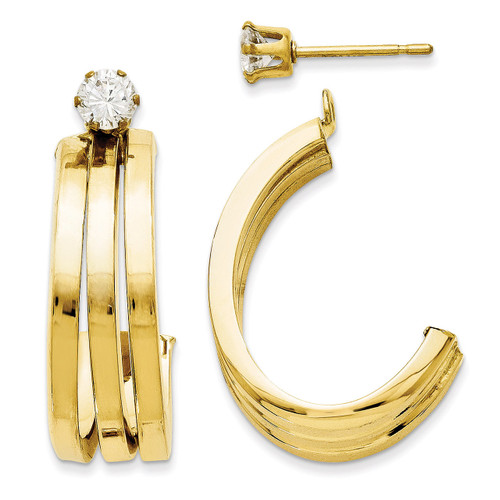 J Hoop with 4mm Cubic Zirconia Stud Earring Jackets 14k Gold Polished YE1487 UPC: 730703064497