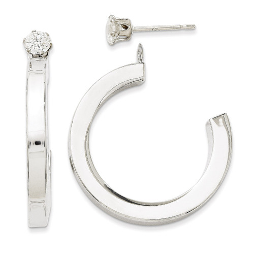 J Hoop with Cubic Zirconia Stud Earring Jackets 14k White Gold Polished YE1490 UPC: 716838210138