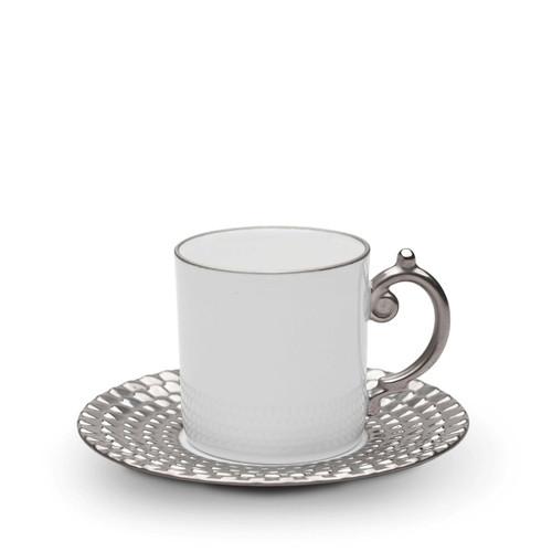 L'Objet Aegean Espresso Cup and Saucer Platinum