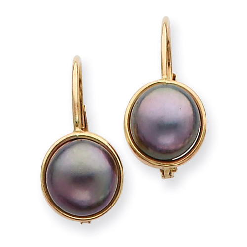 6-7mm Black Cultured Button Pearl Leverback Earrings 14k Gold XF326E