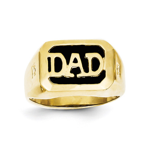 Men's Diamond and Black Onyx DAD Ring 10k Gold 10X152