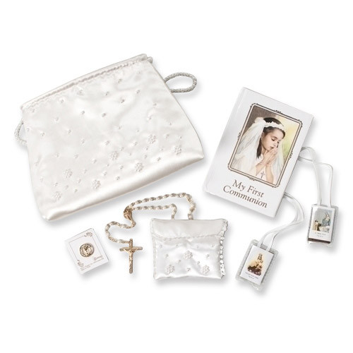 First Communion Girl Six Piece White Purse Set GP877