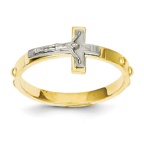 Crucifix Rosary Ring 14k Two-tone Gold K3967