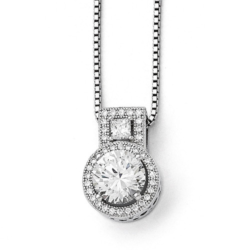 & Synthetic Diamond Brilliant Embers Necklace Sterling Silver QMP582-18