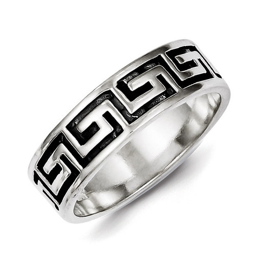 Greek Key Design Ring Sterling Silver Antiqued QR1953-10
