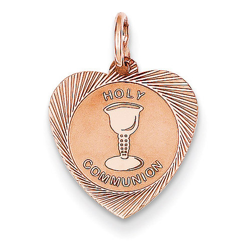 Holy Communion Heart Charm 14k Rose Gold XAC888