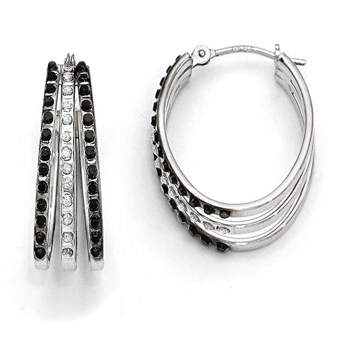Triple Oval Hinged Hoop Earrings 14k White Gold Black Diamond DF222
