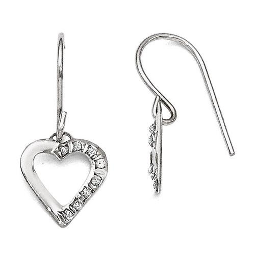 Heart Earrings 14k White Gold with Diamonds DF261