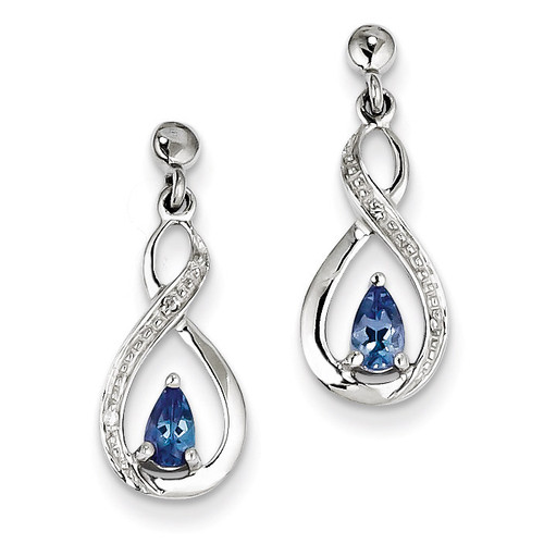 Tanzanite & Diamond Earrings Sterling Silver QDX983