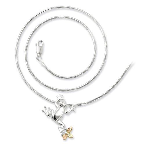 Frog Slide Necklace Sterling Silver & 12k Gold QBH146-20