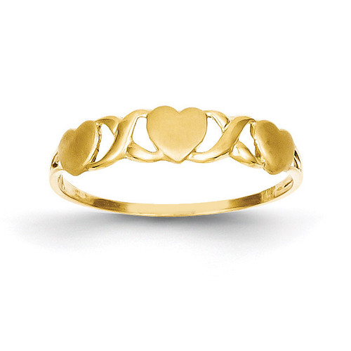 Triple Heart Ring 14k Gold C1545