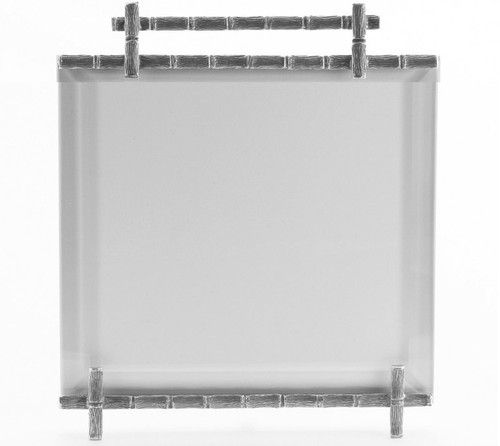 La Paris Bamboo 5 x 5 Inch Silver Plated Picture Frame
