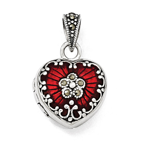 Red Enamel & Marcasite Heart Locket Sterling Silver QP1291