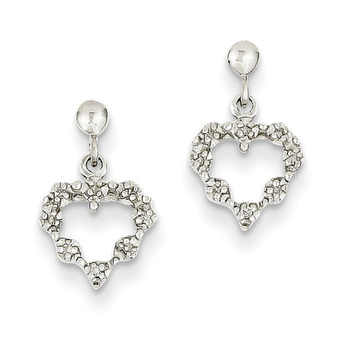 Diamond Heart Earrings 14k White Gold XE1064A