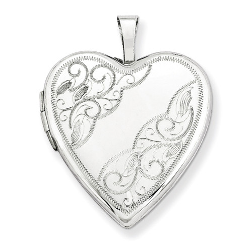 20mm White Gold Side Swirl Heart Locket 14K XL593