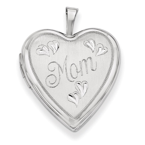 20mm White Gold Mom with Hearts Heart Locket 14K XL611