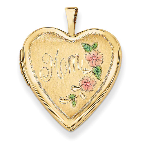 20mm Enamel Flowers Mom Heart Locket 14k Gold XL612