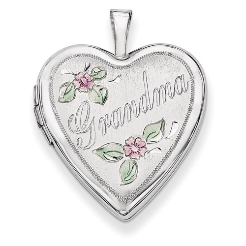 20mm White Gold Enamel Flowers Grandma Heart Locket 14K XL615