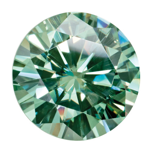 6 mm Round Medium Green Moissanite Stone MT-0600-RDF-GM