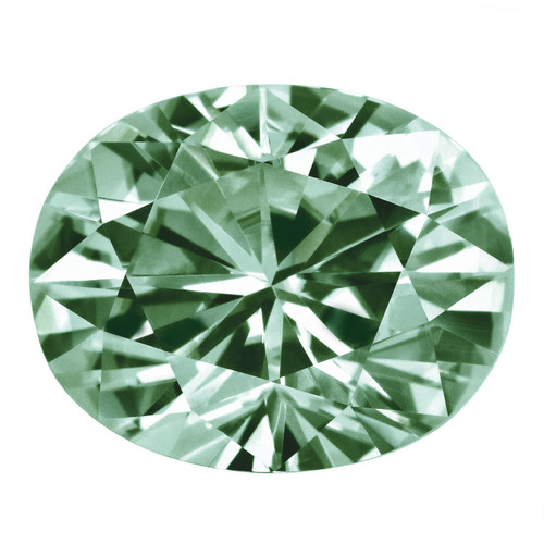 Medium Green 6X4 mm Oval Moissanite Stone MT-0604-OVF-GM