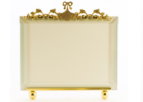 La Paris Basket And Flowers 4 x 6 Inch Brass Picture Frame - Horizontal