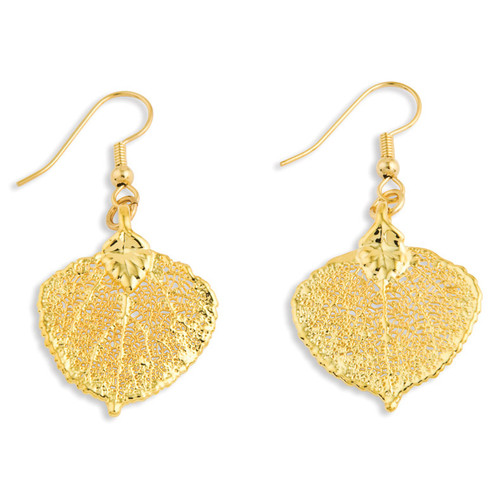 Aspen Leaf Dangle Earrings 24k Gold Dipped BF1366