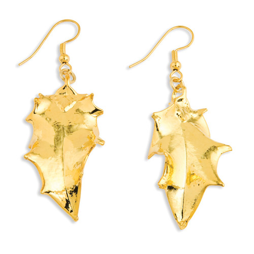 Holly Leaf Dangle Earrings 24k Gold Dipped BF1370