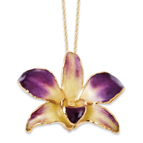 Purple Yellow Dendrobium Orchid Necklace Lacquer Dipped Gold Trimmed BF2021-20