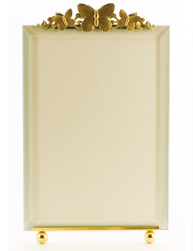 La Paris Butterflies And Scroll 4 x 6 Inch Brass Picture Frame - Vertical