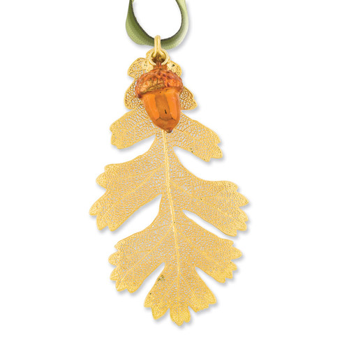 Oak Leaf Iridescent Copper Dipped Acorn Decorative Leaf 24k Dipped GM3898