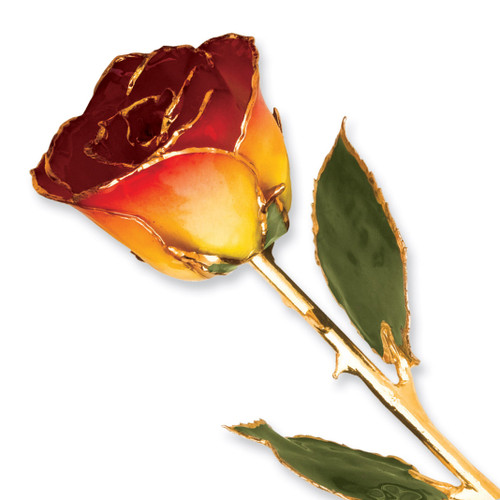 Yellow Red Rose Lacquer Dipped Gold Trimmed GP9355