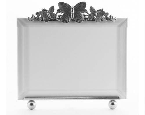 La Paris Butterflies And Scroll 4 x 6 Inch Silver Plated Picture Frame - Horizontal
